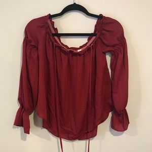 Red Off The Shoulder Chiffon Top Tie Neck